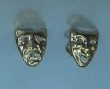 Solid Gold Single Mask Drop Earrings